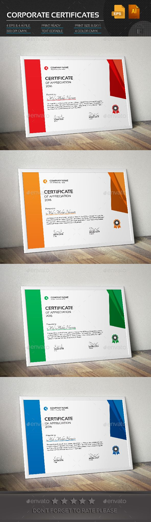 Corporate Certificate - Certificate Template Vector EPS, Vector AI. Download here: http://graphicriver.net/item/corporate-certificate/14728866?s_rank=57&ref=yinkira