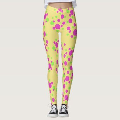 Pink Dots on Pale Yellow - Leggings - #chic gifts diy elegant gift ideas personalize