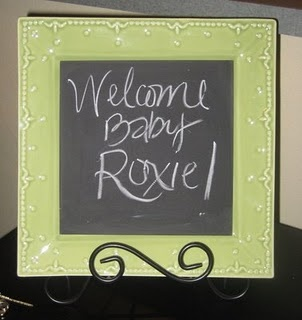 chalkboard plates. What a cute idea! I'm gonna do some of these