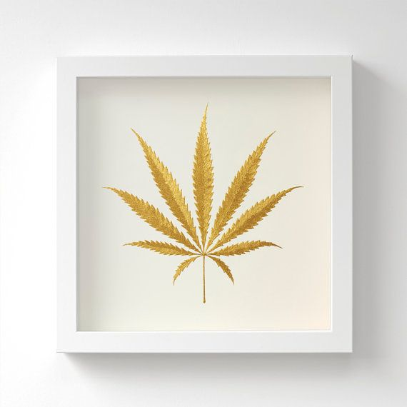Cannabis Leaf – Original Acrylic Painting – Gold Cannabis Gift – Hand Painted in 6 Metallic Shades – Wall Art – For Him – 23x23cm – Unframed