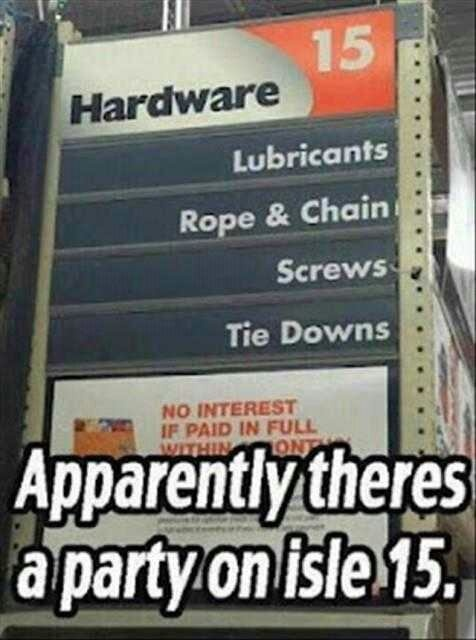 Christian Grey hosts a party at Home Depot.