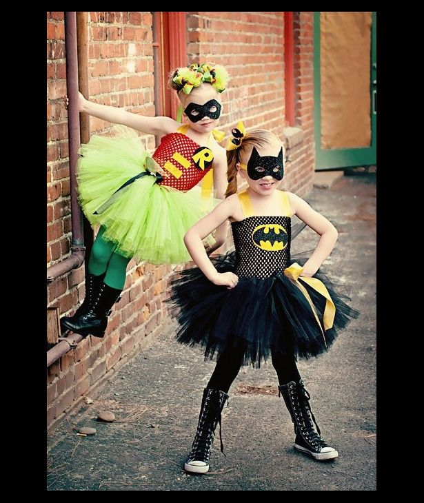 Cute ideas, need better tops coverage for older kids Batman Robin Superhero tutu outfits