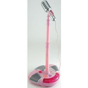 Microphone With Adjustable Stand Features Flashing Lights And Cool Sound Effects - Pink Music Pop Star Singalong Microphone: Musical Party Stage Microphone Stand for the Little Idol by Early Learning Centre. $120.40. Pink Music Pop Star Singalong Microphone: Musical Party Stage Microphone Stand for the Little IdolEarly Learning Centre Singalong Mic And the crowd goes wild! This adjustable microphone stand features flashing lights, special sound effects (cheering!) and ...