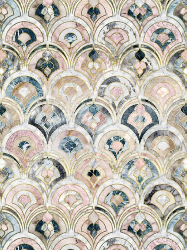 Art Deco Marble Tiles in Soft Pastels by Micklyn for Society6