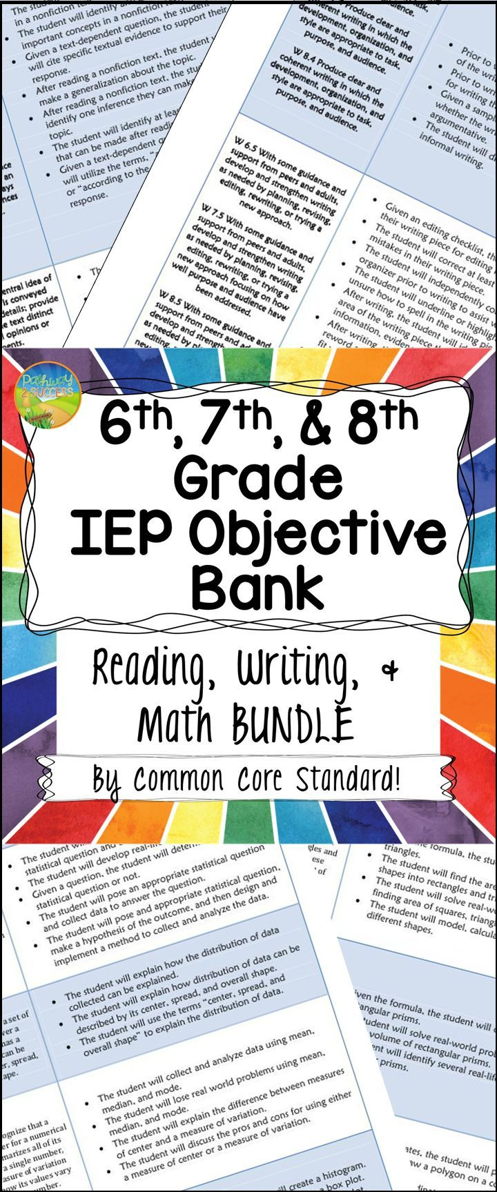 Middle school IEP Objective Bank BUNDLE with reading, writing, and math