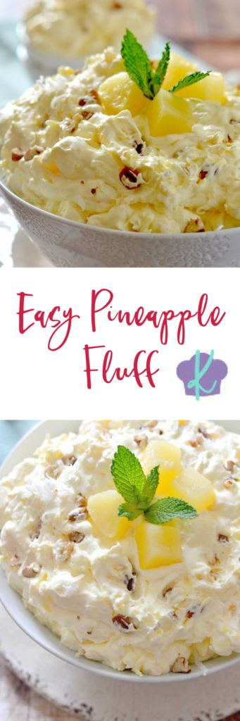 With only a few ingredients, this light and creamy Easy Pineapple Fluff comes together in just a few minutes and is the perfect dessert for spring! | pineapple dessert recipes | recipes using pineapple | homemade fluff recipes | dessert recipes for spring || Kitchen Meets Girl