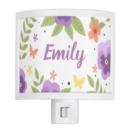 Flower Pansy Floral Butterfly Leaves Purple Yellow Night Light - diy cyo customize create your own #personalize
