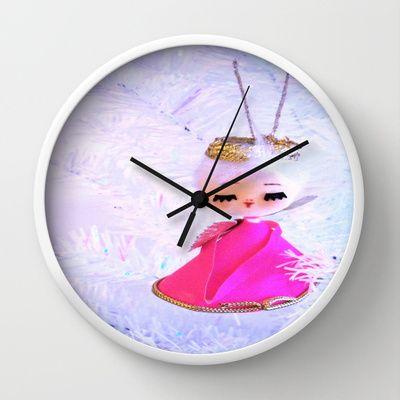 Dreamy Pink Angel Wall Clock by Vintage  Cuteness - $30.00 #vintage #pink #angel #pastel #clock #decor #nursery #baby #children #whimsical #dreamy #shabbychic #angelic #kitsch #kawaii #noel #tree #christmas #noel #xmas #holiday
