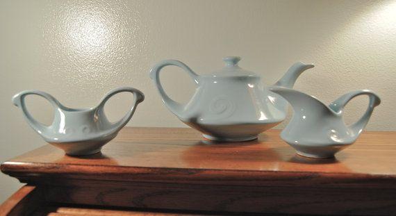 Retro Blue Ceramic Tea Set. Midcentury Tea Pot, Sugar Bowl, and Creamer on Etsy, $33.00