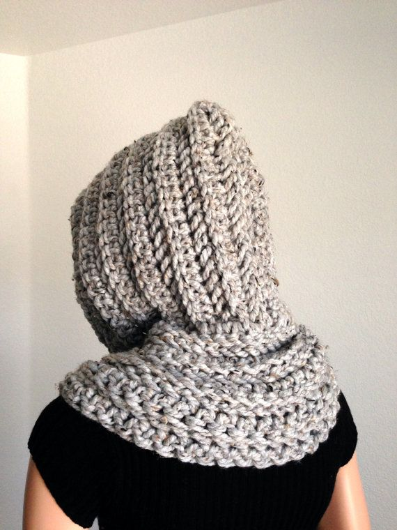 Crochet Hooded Winter cOWL in Marble by Africancrab on Etsy