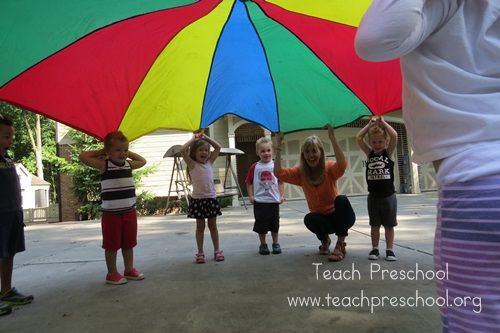 "Parachute basics: ""The Hello Game"" (from Teach Preschool)"