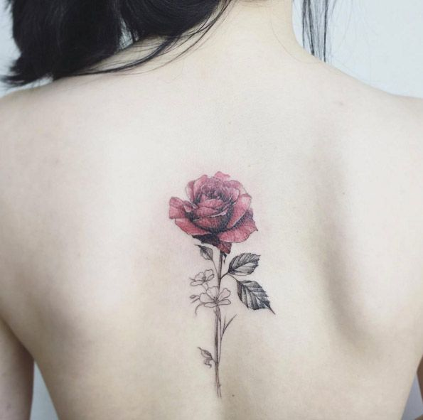 Delicate Rose Tattoo Design by Flower