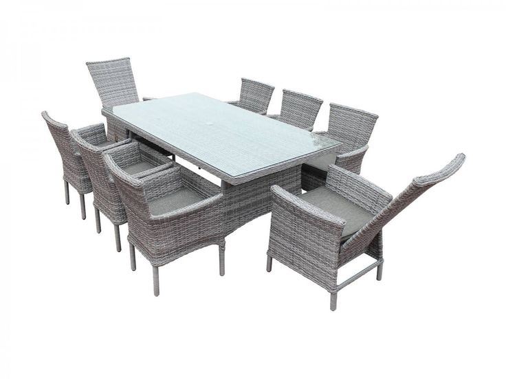 Cambridge 2 Reclining + 6 Non-Reclining Rattan Garden Chairs and Rectangular Table Set in Grey