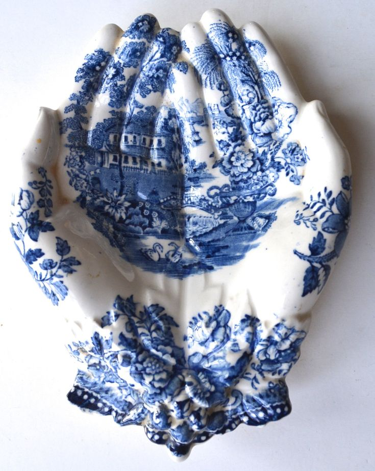 Blue English Transferware Clarice Cliff Open Hands Soap Dish Tray Staf