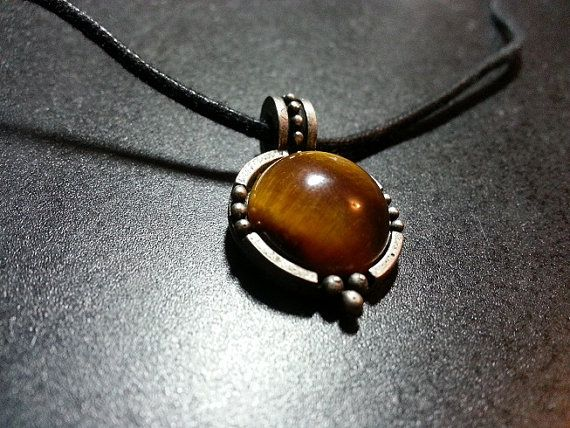 Tiger's Eye Precious Stone w/ Pewter Pendant on by WithLoveDivine, $12.00 JEWELLERY JEWELRY NECKLACE BLACK TIGERSEYE TIGER https://www.etsy.com/listing/152602294/tigers-eye-precious-stone-w-pewter