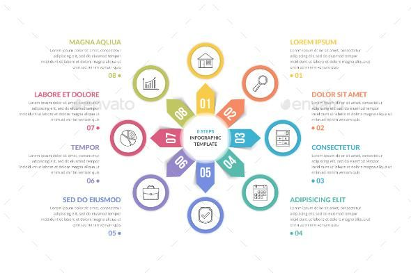 Circle Infographics With Eight Elements Powerpoint Design Templates Circle Infographic Infographic Templates