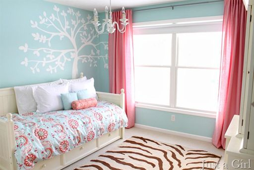 pink and teal girls bedroom decor via lilblueboo.comLittle Girls Room, Girls Bedrooms, Room Ideas, Colors Schemes, Trees Murals, Big Girls Room, Bedrooms Decor, Bedrooms Ideas, Trees Painting
