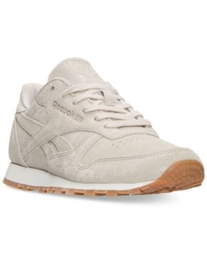 2c3bac3f656 Reebok Women s Classic Leather Exotic Casual Sneakers from Finish Line -  STUCCO CHALK SAND STONE G 10