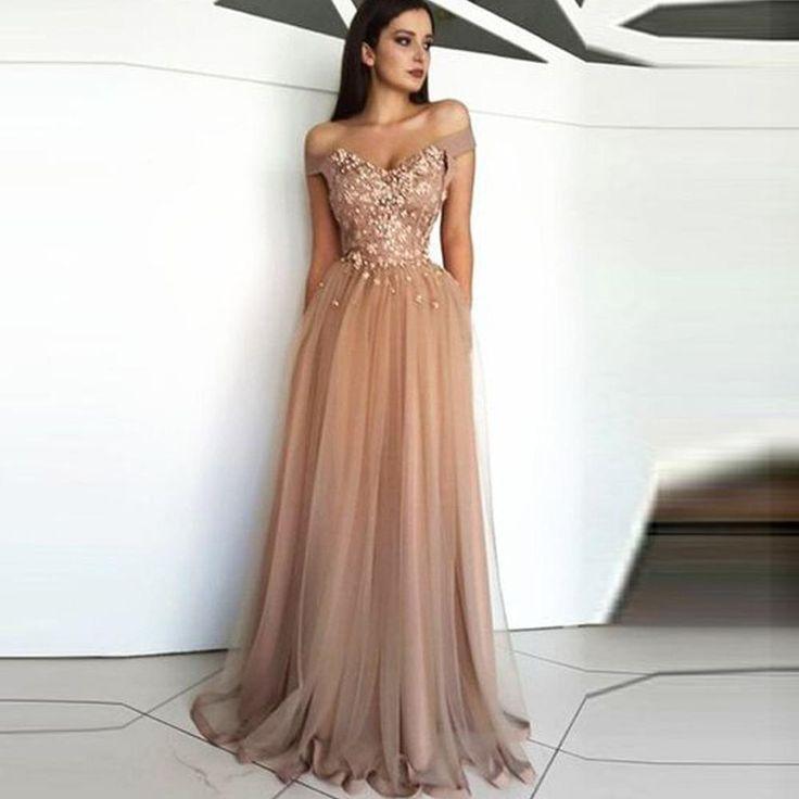 Lace prom dresses 2020 off the shoulder lace appliques flowers champagne evening dresses formal dresses party dress