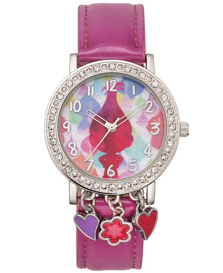 Hop on the fun fashion train with this pink watch from DreamWorks Trolls, featuring three fabulous charms and a multicolor dial.   Pink polyurethane strap; buckle closure   Round silver-tone case, 36m