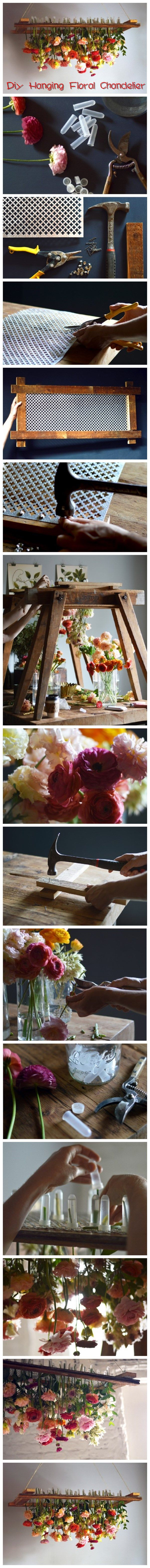 How To #Diy Hanging #Floral Chandelier #Tutorial