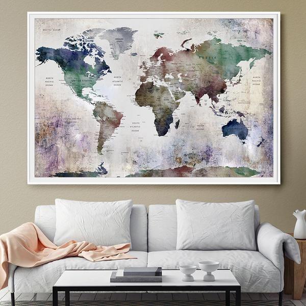 Large wall art, World map, world map push pin, world map poster, world map wall art prints, push pin travel map, Travel World map print -L94