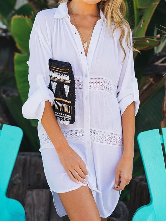 Summer Women Beachwear Cover-ups White Cotton Tunic Beach Dress Swim Suit Bikini
