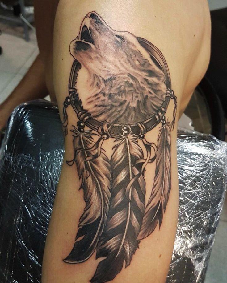 Wolf tattoo, Wolf Dreamcatcher.