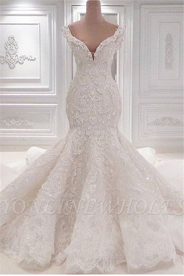 New Arrival Mermaid Vintage Wedding Dresses Online Elegant V Neck Lace Wedding Gowns Online Lace Mermaid Wedding Dress Bridal Gowns Mermaid Online Wedding Dress