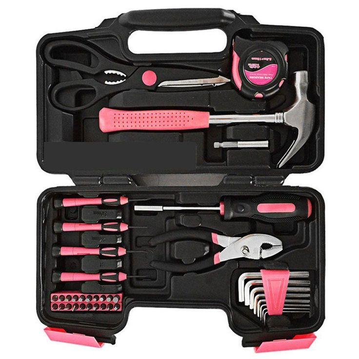 Yuanshikj Precision Tools Pink General Tool Set Homeowner's Tool Kit 39-Piece #Yuanshikj