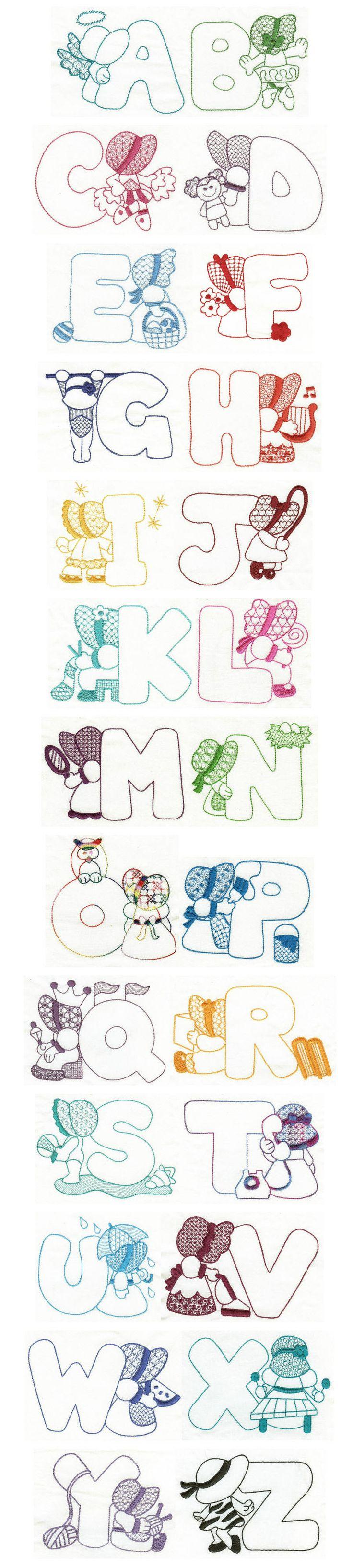 Embroidery | Free machine embroidery designs | Sunbonnet Sue Redwork Alphabet Más