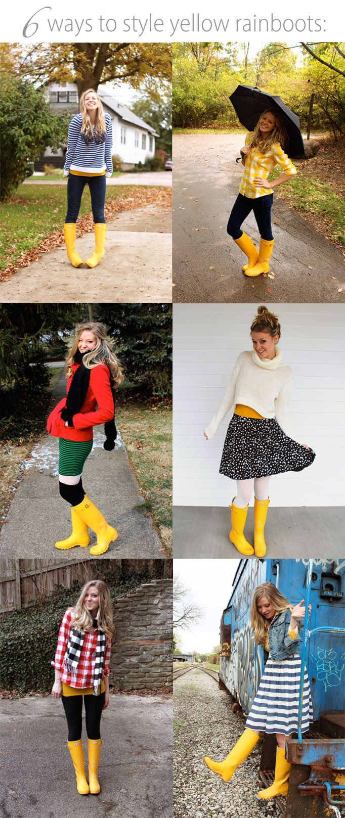 How to style yellow rain boots. I have wanted yellow wellies that fit properly for years.