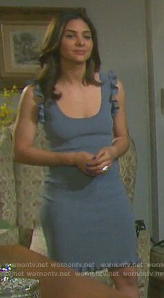 67b4b4cccea470 Gabi s blue ruffle trim dress on Days of our Lives. Outfit Details  https