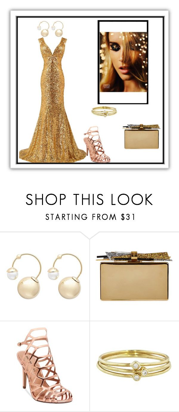 """""""Gold"""" by rebecioatto on Polyvore featuring moda, Witchery, Edie Parker, Madden Girl e Jennifer Meyer Jewelry"""