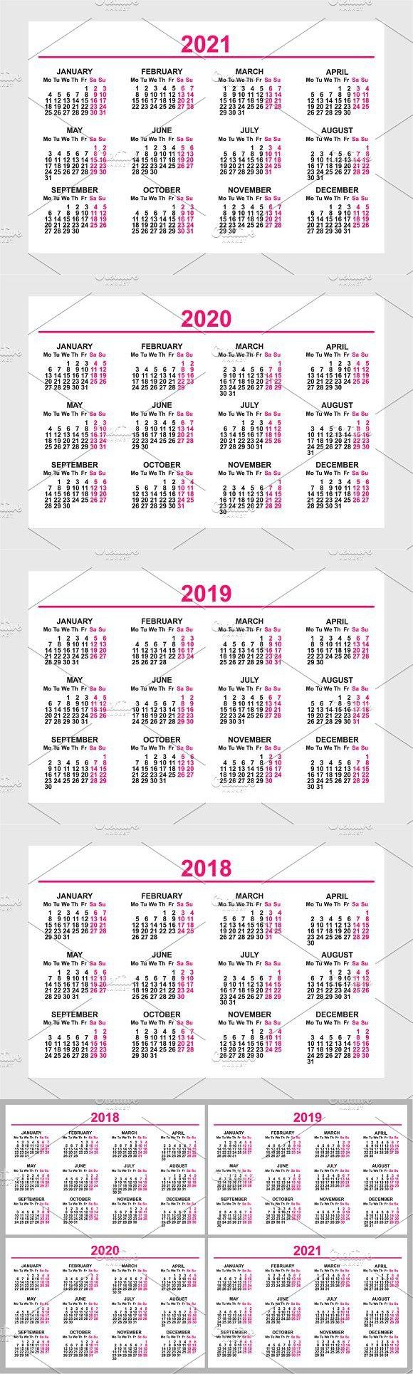 Calendar 2018, 2019, 2020, 2021 Calendar 2018, Calendar