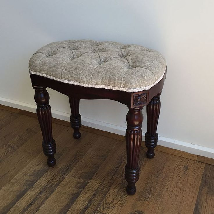 Antique Style Solid Mahogany Wood Bed End Stool Ottoman Hand Crafted Design PF-10