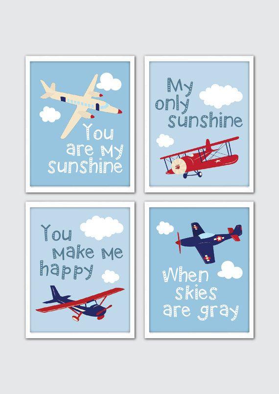 Aviation Nursery Wall Art, Baby Boy Nursery Art, Baby Boy Quote, Aviator Nursery Print, Aviation Baby Boy Room Decor, You are my sunshine