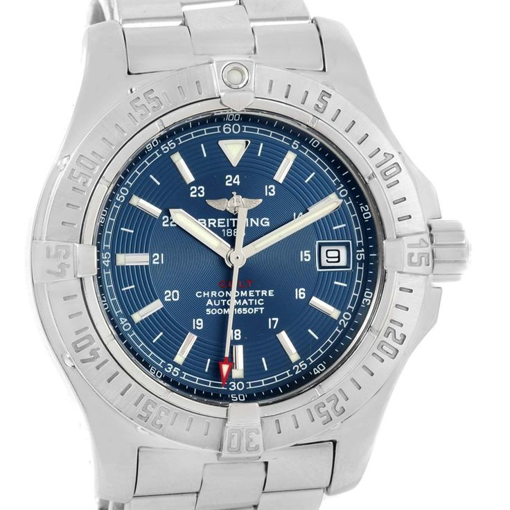 Breitling Colt Automatic Stainless Steel Blue Dial Mens Watch A17380