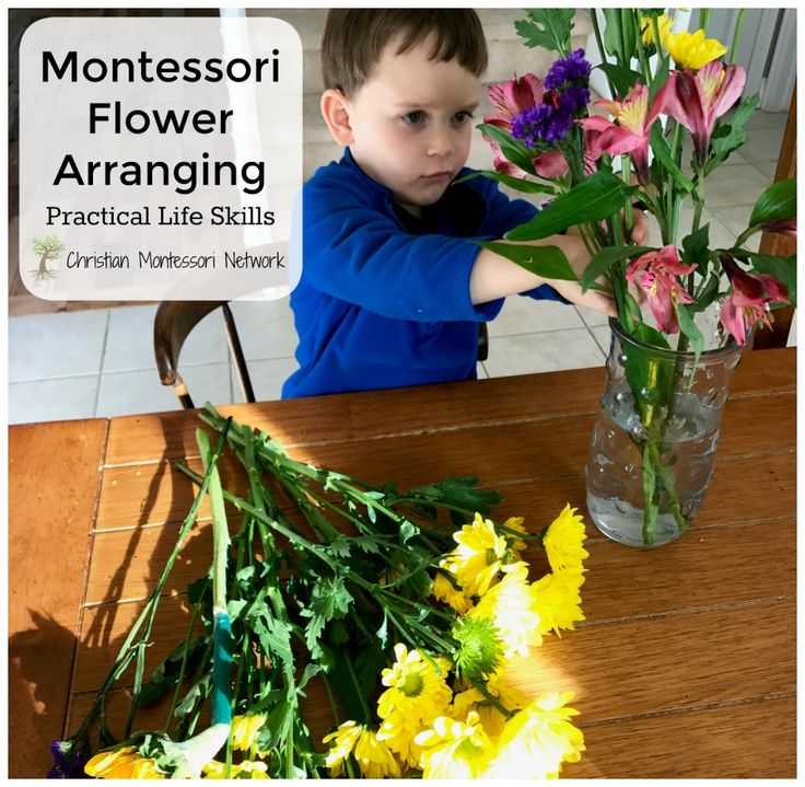 Practical life skills are a huge part of the Montessori environment. Learn how to introduce Montessori flower arranging with your preschooler.