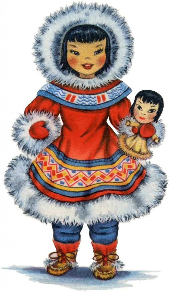 Retro Eskimo Doll Image! | Isn't she cute?! This darling Girl is wearing a brightly colored costume all trimmed with white Fur. She has matching boots as well, and is holding her own doll!  This is the seventh one in a series that I've been sharing here for the last few weeks, of lovely Dolls from all over the World. |  The Graphics Fairy