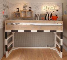 Soccer loft bed. Goal.