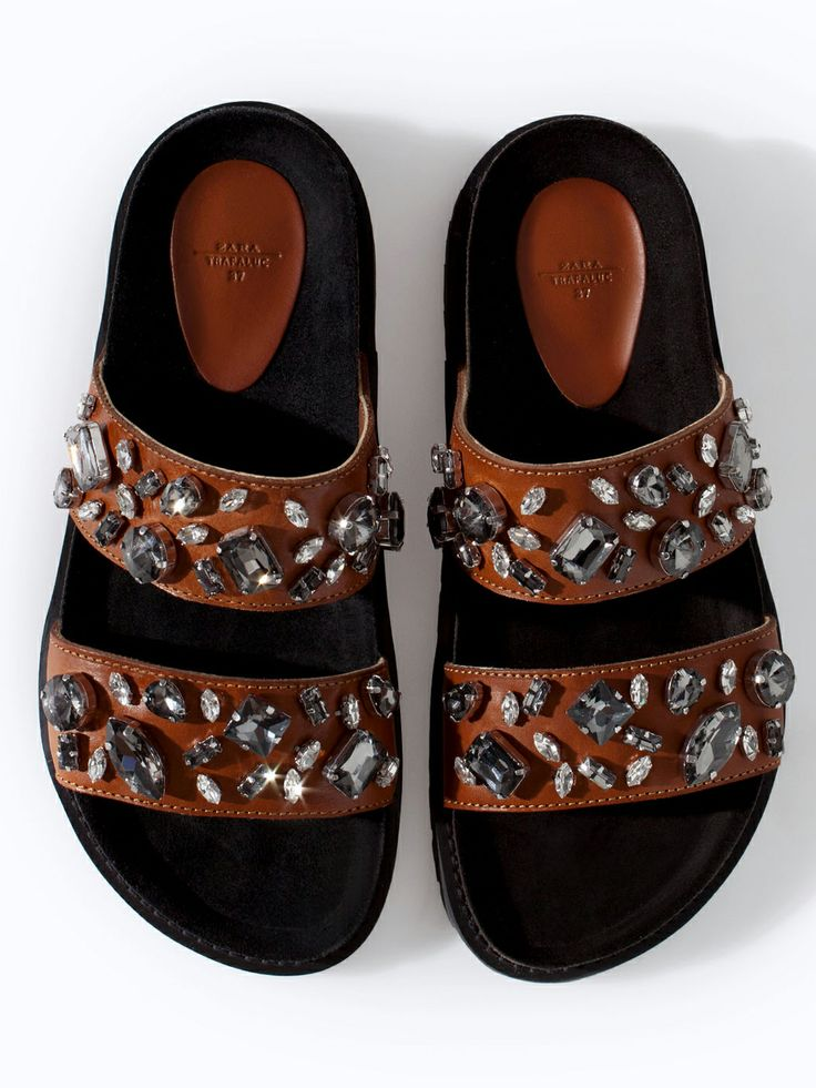 Zara jeweled pool slides for the Birkenstock look - can you dig it?