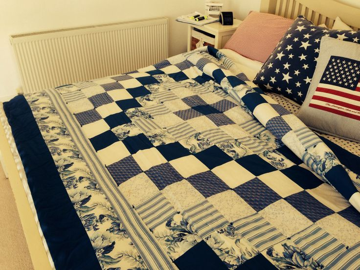 Blue and white quilt