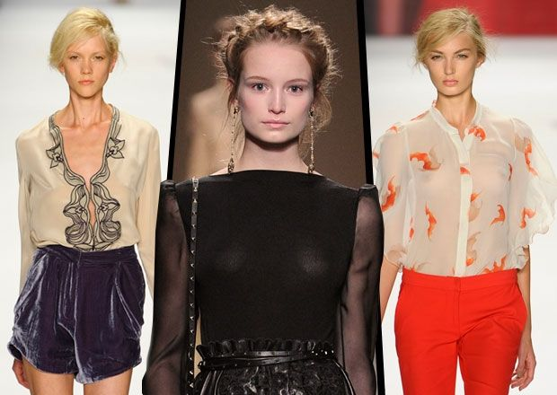 2013 Spring Trend - Collarless blouses. Whether high-necked or plunging, soft collarless blouses replace stiff business shirts for a sensual Mediterranean mood.
