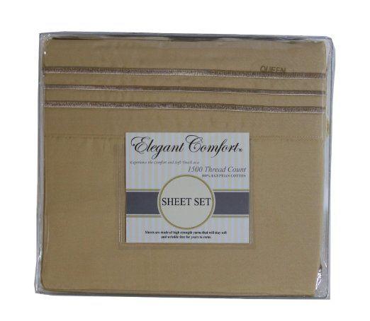 Elegant Comfort 4-Piece 1500 Thread Count Sheet Set, Queen, Gold