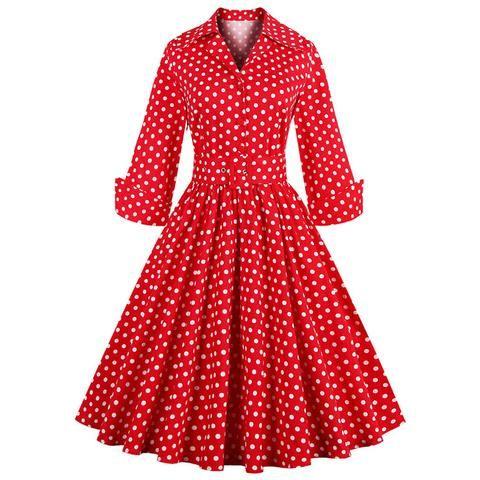 Atomic Vintage Polka Dot Bow Casual Swing Dress