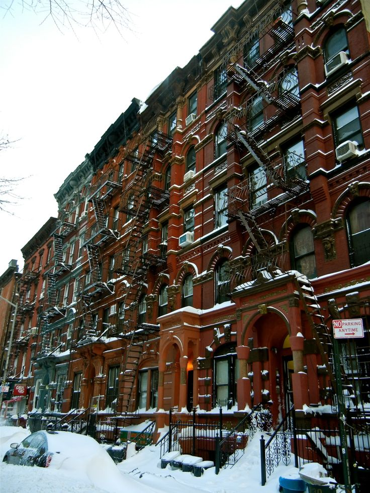 NYC. Snowy red brownstones // asb
