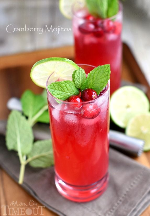 Cranberry Mojitos - Perfect for any night but especially a celebration! Tart, sweet, refreshing, and delicious - everything a good cocktail should be.