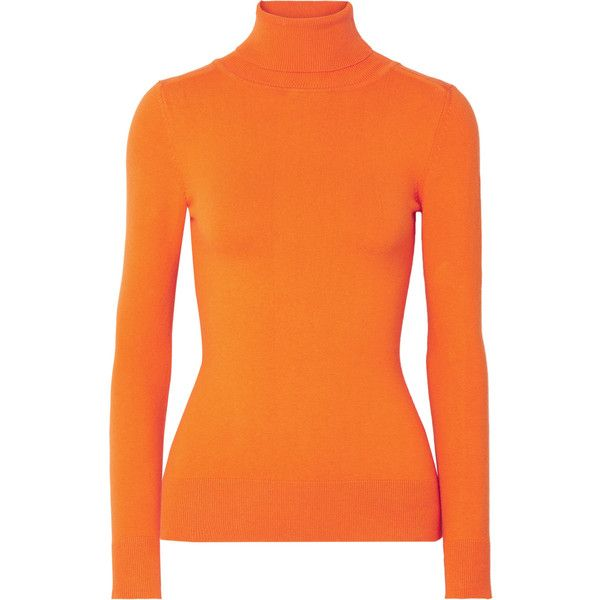 JoosTricot Stretch cotton-blend turtleneck sweater ($415) ❤ liked on Polyvore featuring tops, sweaters, orange, orange turtleneck, layered tops, orange top, polo neck sweater and layered sweater