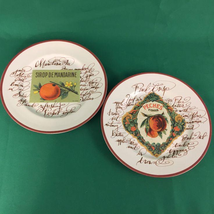 Williams-Sonoma Rosanna Harvest Market Dessert Salad Fruit Plates Set of 2 #WilliamsSonoma